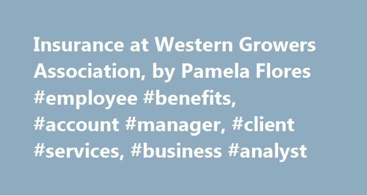 Insurance at Western Growers Association, by Pamela Flores #employee #benefits, #account #manager, #client #services, #business #analyst http://sierra-leone.remmont.com/insurance-at-western-growers-association-by-pamela-flores-employee-benefits-account-manager-client-services-business-analyst/  # Pamela Flores has 3 Jobs in Insurance Insurance – Irvine, CA 92618 Western Growers is a multi-faceted service organization and trade association founded in 1926 that operates a number of companies…
