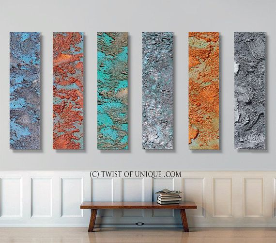 Rusted metal Abstract Paintings / 6 panel CUSTOM by TwistOfUnique