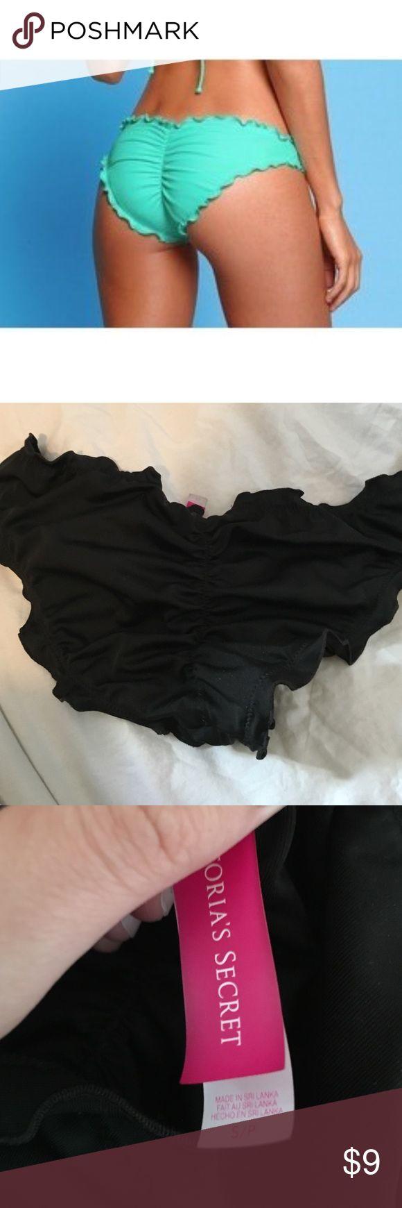 Victoria's secret black ruched bikini bottom Great condition, no pilling! Victoria's Secret Swim Bikinis