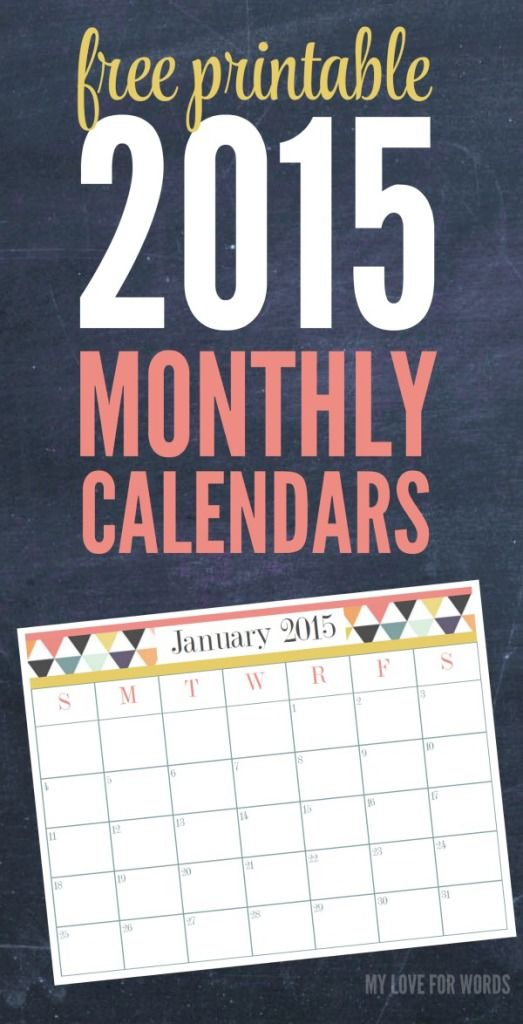 Free printable Monthly Calendars for 2015