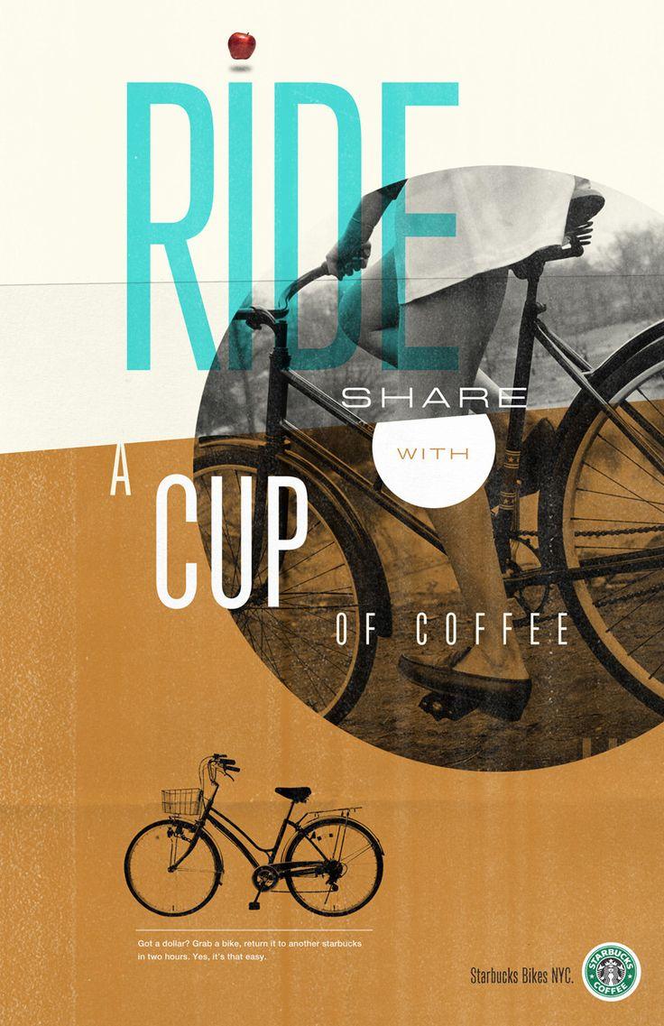 Starbucks Ride Share: Design Inspiration, Flyers Design, Posters Design, Graphicdesign, Riding Shared, Graphics Design, Starbucks Design, I Love Coffee, Starbucks Riding