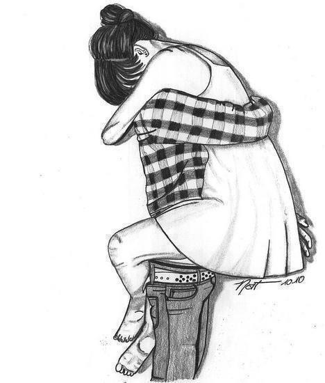Dessin de couple noir et blanc