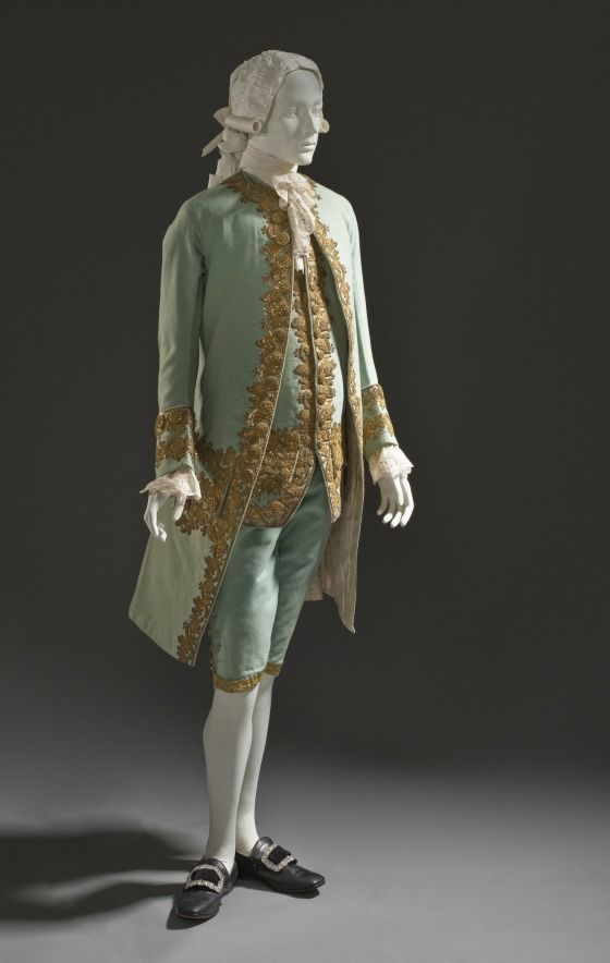 Suit, wool embroidered with sequins and gold thread and passemanterie, c. 1760, French.