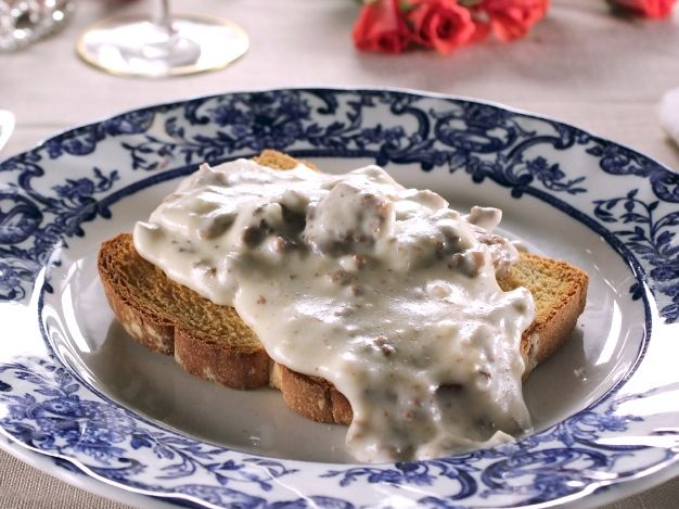 Trisha Yearwood's Creamed Beef on toast from FoodNetwork.com.  My mom used to make this with the chipped beef, but my husband won't eat that because he had too much of it when he was in the Navy a long time ago.  We'll have to try this.  Chipped beef on toast was the first thing I ever learned to cook as a teen.