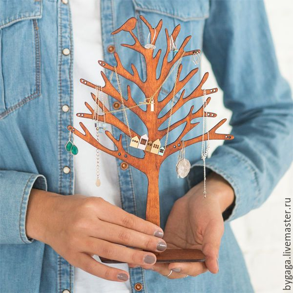 """Купить Подставка для украшений """"Деревце с птичкой"""" - коричневый, подарок, подставка для украшений, оригинальный подарок"""