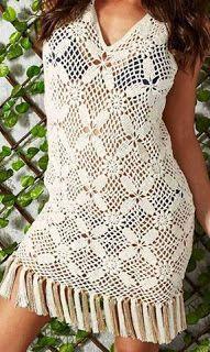 Tina's handicraft : beach crochet dress with motifs squares