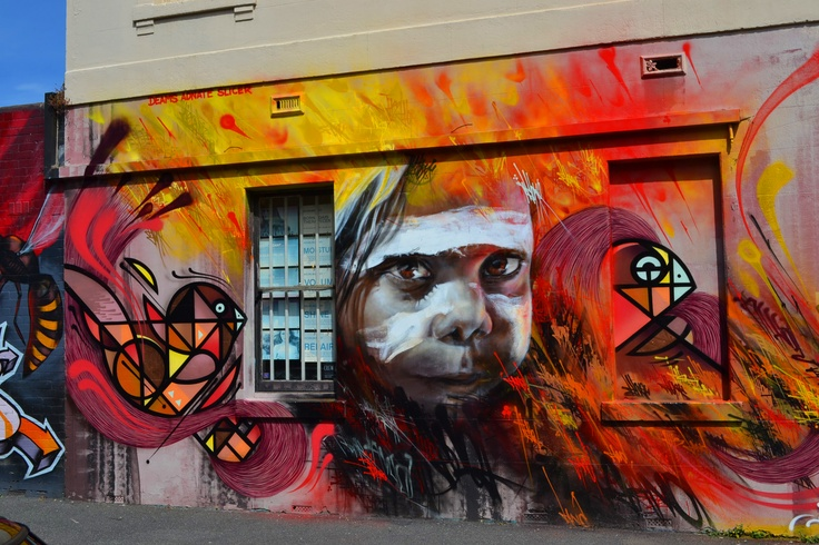 this amazing street art work dose not exist any more because of taggers destroyed it completely  it was on the corner of Fitzroy street and Johnston street Fitzroy a new art work has taken its place