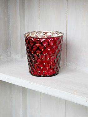 Red votive 10 cm 'Nid d'abeille'.