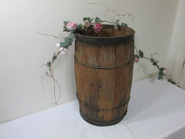 Wood Nail Keg Barrel Solid Bottom Steel Bands by LuRuUniques on Etsy
