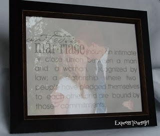 etched glass over picture- LOVE THIS!