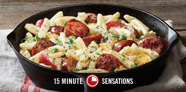 Hillshire Farm® Sausage Alfredo Add steamed broccoli. Don't add cajun seasoning or salt, just pepper!