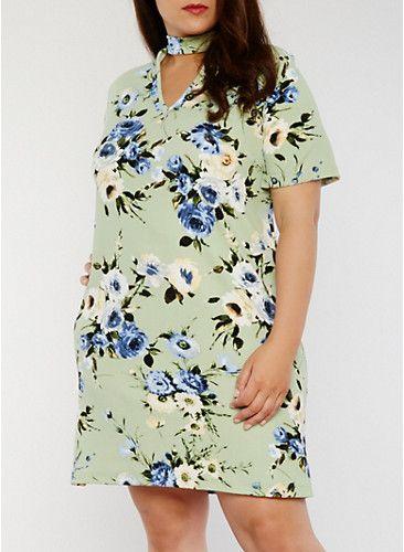 Plus Size Floral T Shirt Dress with Keyhole Choker Neck,SAGE