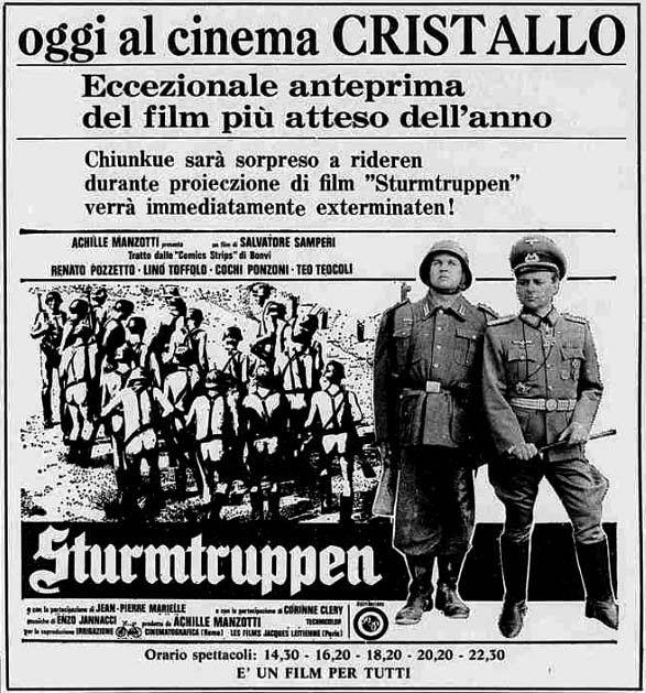 """""""Sturmtruppen"""" (1976) di Salvatore Samperi, con Renato Pozzetto e Lino Toffolo. Italian release: December 23, 1976 #MoviePosters"""