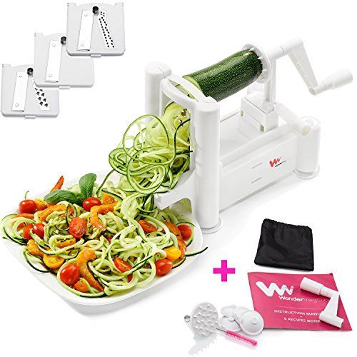 WonderVeg Spiralizer Vegetable Slicer - Tri Blade Spiral Slicer - Zucchini Spaghetti Pasta Noodle Maker - Cleaning Brush, Mini Recipe Book, 6 Spare Parts Included - Cool Kitchen Gifts