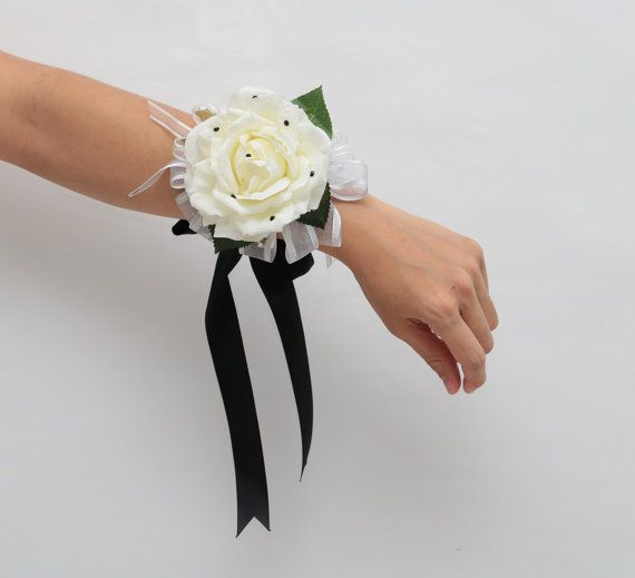 2 pcs white rose and black diamante soft by AliceThorWeddings