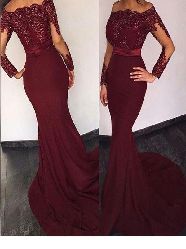 3e09fcf85eb9 Long Custom Prom Dress,Burgundy Prom Dress, Long Sleeve Prom Dress, Prom  Dress With Lace, Mermaid Prom Dress, Evening Prom Gown, Sexy Prom Dress, ...