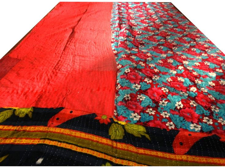 Reversible Kantha Quilt Vintage Bedspread Cotton Blanket Decorative Throw VIT171 #Handmade #Traditional