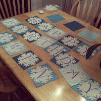 DIY Snowflake banner - card stock, snowflakes from Michaels, stencil letters
