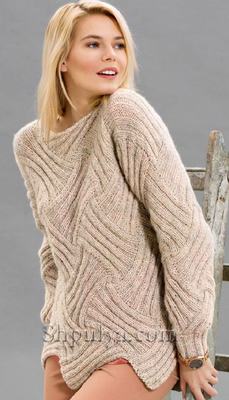 Пуловер в технике интерлак