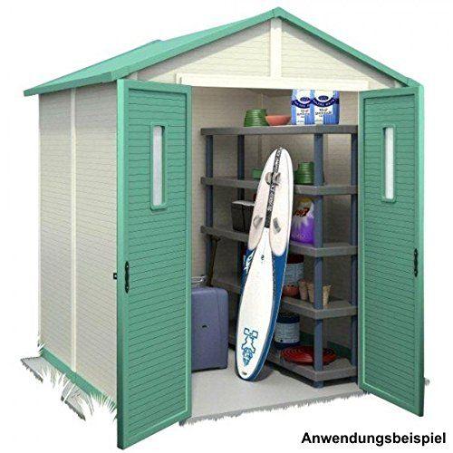 Gerätehaus 185x185cm 3,4m² weiß Kunststoff Geräteschuppen Kunststoffgerätehaus In diesem schönen Gerätehaus finden alle Ihre Gartenwerkzeuge und Geräte einen geschützten Platz. Die extra starken Kunststoffwände und das Giebeldach wurden zusätzlich mit Metall verstärkt, so wird eine besonders hohe Stabilität erreicht. Das Kunststoffmaterial ist wartungsarm, pflegeleicht, wetter- und UV-beständig. Das Kunststoffgerätehaus lässt sich einfach montieren, hat eine eingebaute Ventilation, und…