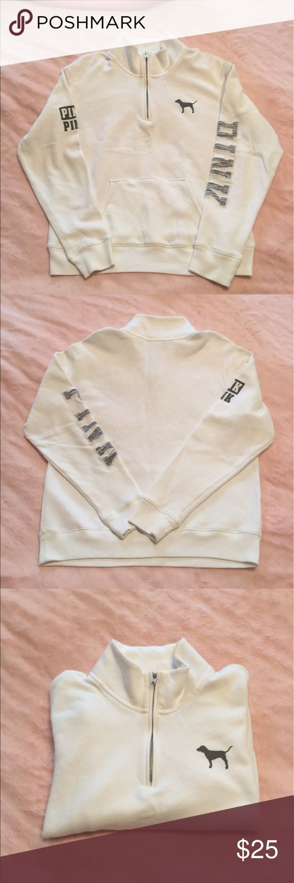 Victoria's Secret PINK quarter zip up jacket This is is good condition. Size small. Originally purchased for $50 This is an off white almost cream color. PINK Victoria's Secret Tops Sweatshirts & Hoodies