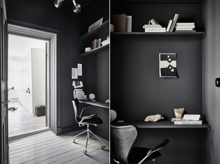 Platsbygg ett smart hyllsystem för förvaring och skrivbordsskiva. Finast blir det om du väljer att måla in det i väggfärgen.