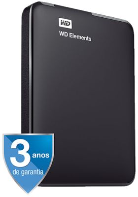 HD Externo Portátil WD Elements Preto 1Tb USB 3.0