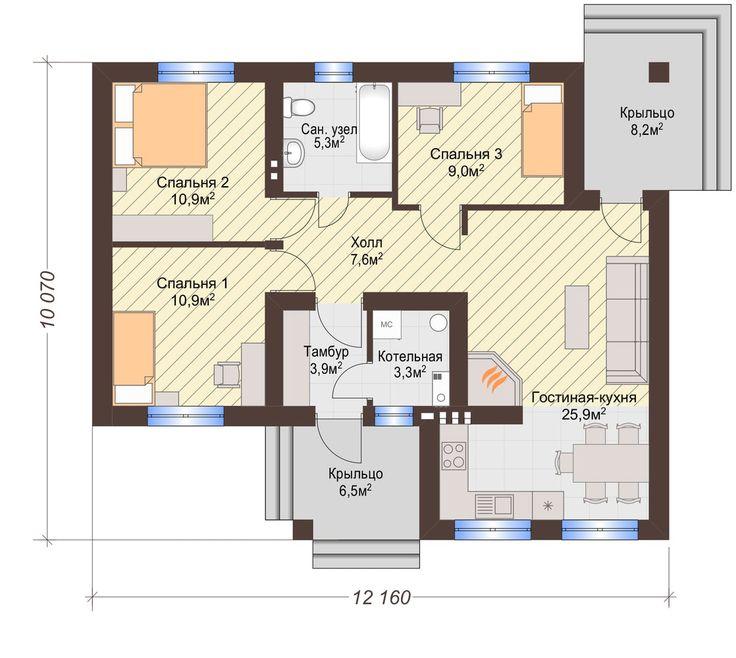 Одноэтажный Дом на 3 (три) Спальни, 2 Входа   КТ-005   DOMRIY