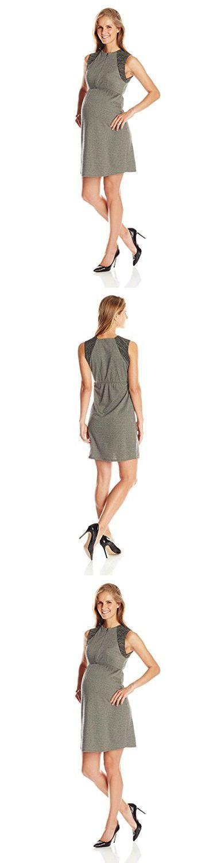 Maternal America Women's Maternity Front Zip Dress, Herringbone/Olive Space Dye, Small