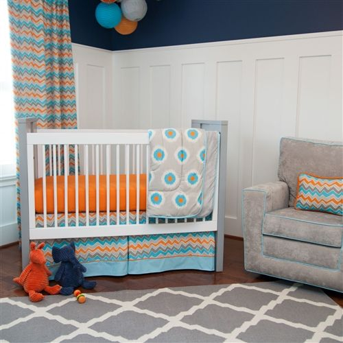 Gray And Orange Ikat Dot Crib Bedding