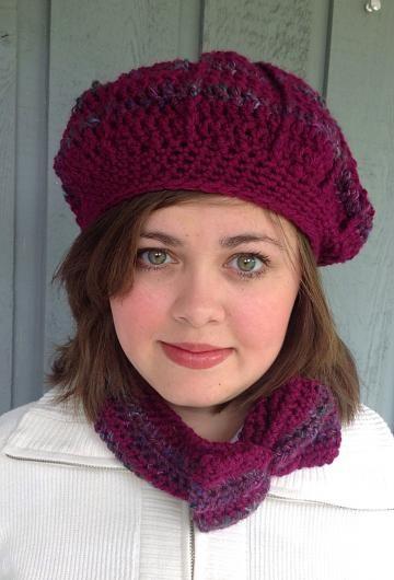 Crochet hat and headband, hat and cowl, purple hat, purple headband by #onceuponaroll #zibbetflash - $25.00