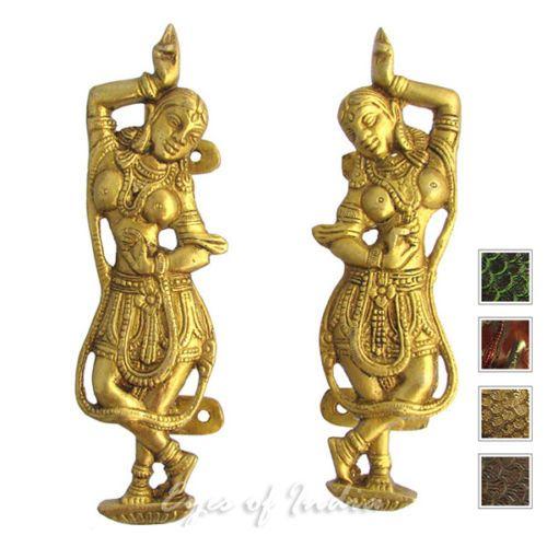 LARGE-SELECTION-6-034-PAIR-BRASS-INDIAN-DANCER-CABINET-PULLS-DOOR-HANDLES-Antique