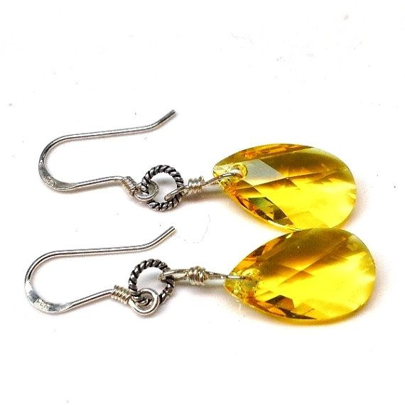 Yellow Swarovski crystal earrings-925 sterling silver by Emmalishop