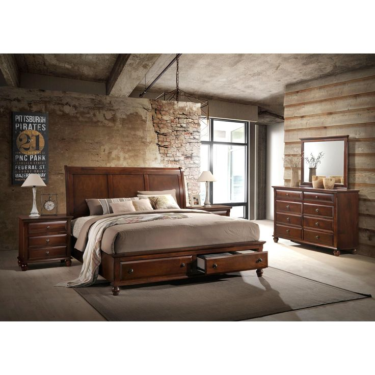 Concord Cherry Finish Wood Bedroom Set with King Bed, Dresser, Mirror, 2 Night Stands