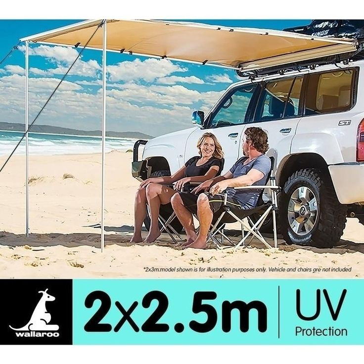 Side Car Awning Roof Top Shade in Sand 2 x 2.5m | Buy Car Awnings