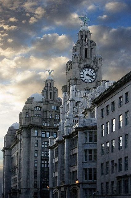 Liver Buildings - Liverpool, England  Love walking through Albert Docks and ending up here. Miss that