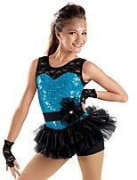 jazz dancewear kant pailletten rok biketard jazz / moderne dans / cheerleader kostuums voor meisjes