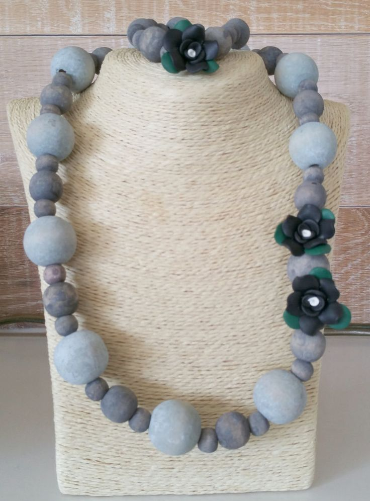 wood bead necklace with polymer clay roses and bracelet, South african by Annaswoodbeads on Etsy