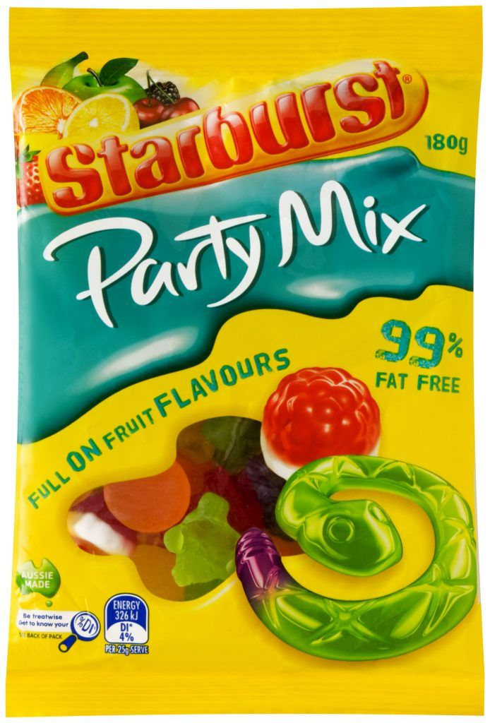 A bulk box of 12 packs of Starburst Party Mix 350g.