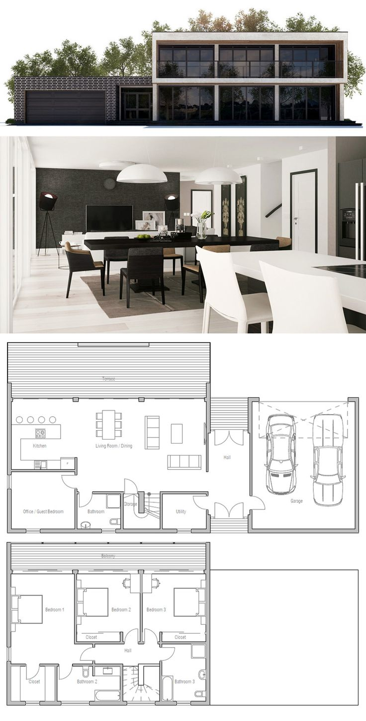 Great starter plan for Tommies!  Move garage under front deck, front entry to kitchen side. Bigger utility/mud room area.  Also add hallway btwn living & bathroom, utility etc.  Slight variations up top also to incorporate home office / family relax/reading room overlooking the lagoon :)