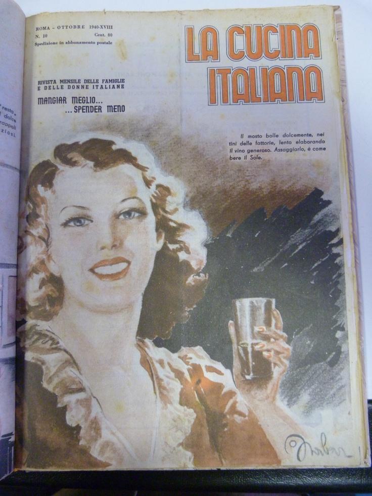 """The magazine """"La Cucina Italiana"""" alwasy has great imagery... This, from 1940, is superb. And a lovely caption """"Il mosto bolle dolcemente nei tinì delle fattorie, lento elaborando il vino generoso. Assaggiarlo è come bere il Sole"""".  Ottobre/October 1940  La Cucina Italiana"""