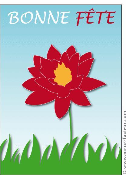 Carte Bonne fête grosse fleur rouge pour envoyer par La Poste, sur Merci-Facteur !