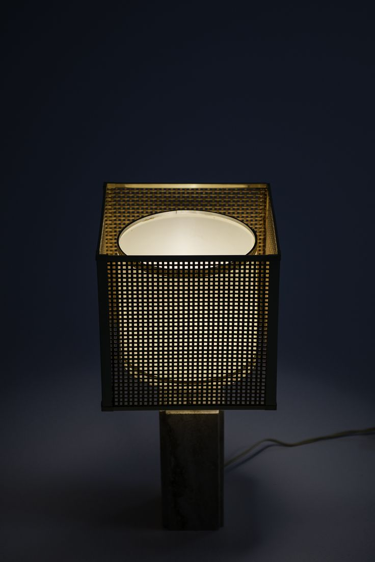 Fili Mannelli table lamp in travertine and brass at Studio Schalling