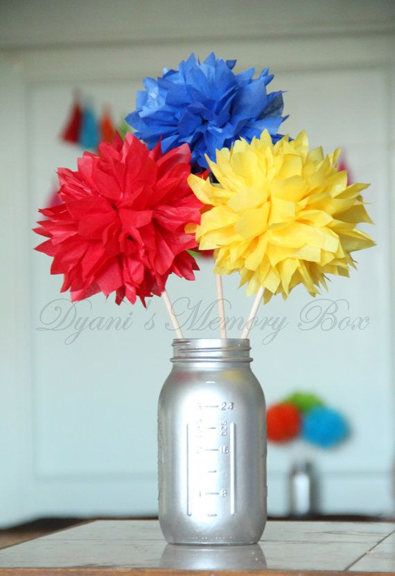 Set of 6 Primary Colors Handmade Tissue Pom Pom Flowers / Superhero Centerpiece / Red Yellow Blue Pom poms / Circus Decor
