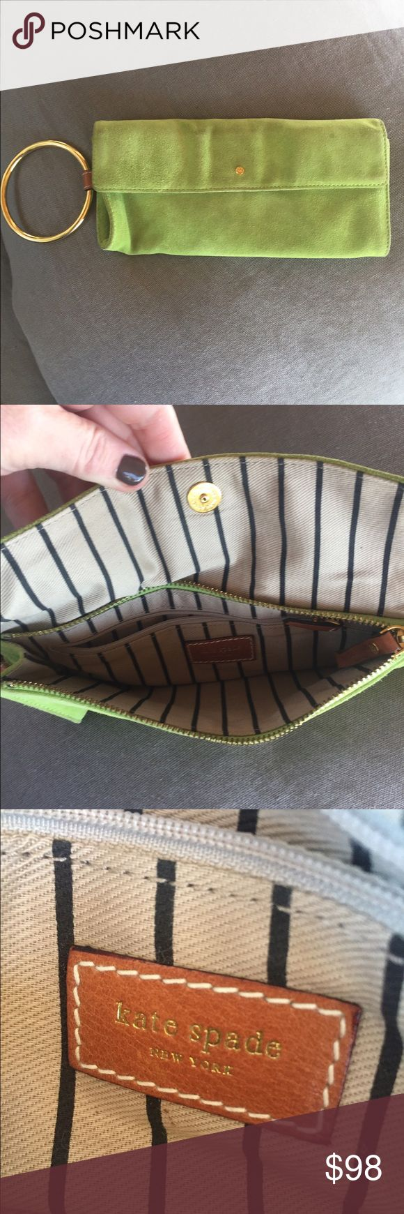 💥SALE💥 Kate Spade green suede clutch Today! Reduced $60! Authentic Kate Spade lime green clutch/purse wristlet with fun gold detail! Used, good condition! Make an offer or bundle with other bags in my close for -20% discount! kate spade Bags Clutches & Wristlets