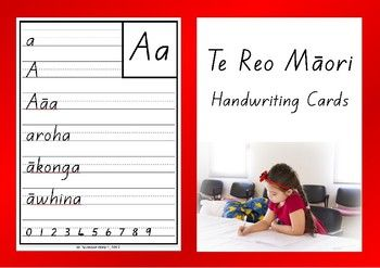 Handwriting cards for the Mori alphabet.a e i o u h k m n p r t w wh ng The font used is the 'New Zealand Basic Script'. The letter shapes are identical to those recommended in the NZ Ministry of Education Handbook - Teaching Handwriting.Laminate the cards.