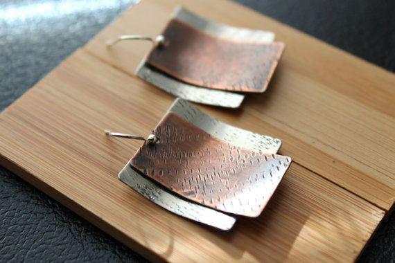 Mixed Metal Earrings, silver and copper earrings, modern earrings, handmade jewelry, rustic metal earring