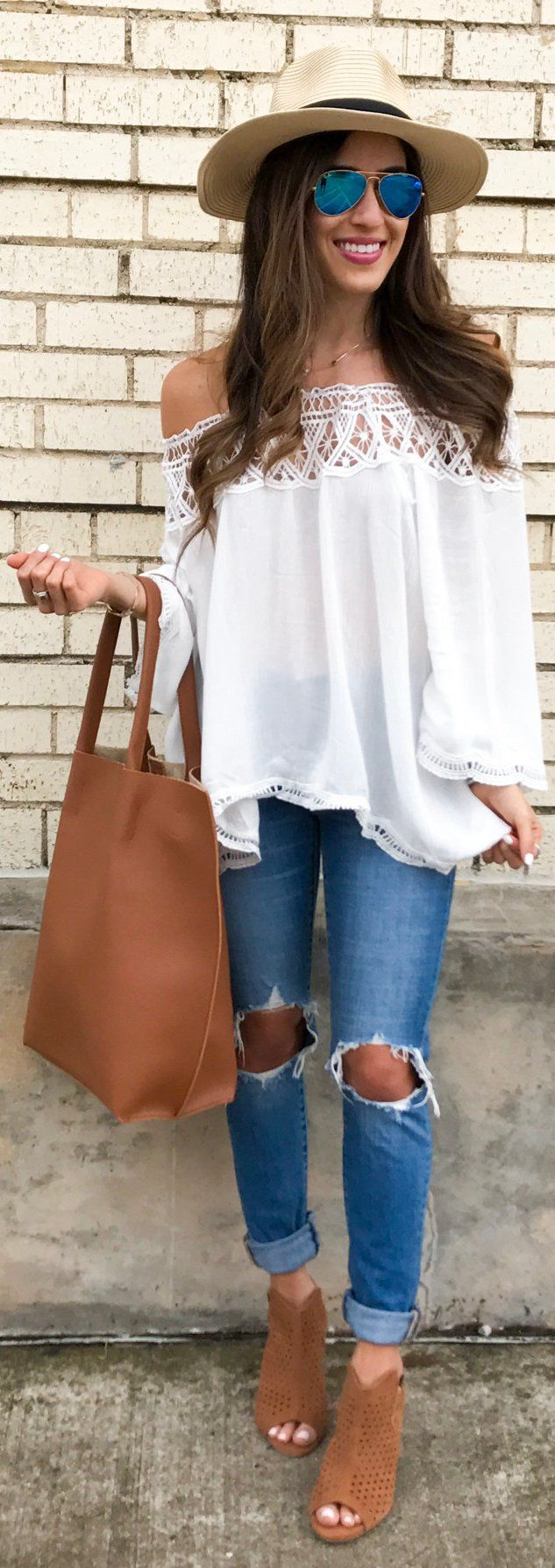 Beach Hat / White Off Shoulder Blouse / Brown Leather Tote Bag / Destroyed Denim / Brown Open Toe Suede Booties
