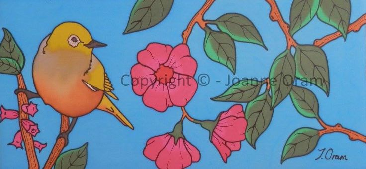 Gorgeous silk painting of a silvereye bird sitting on a blossom branch, buy the original in store or available to buy on cushions, canvas, prints, phone cases and more! www.naturespalette.co.nz