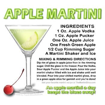 Apple Martini - best with Granny Smith apple slices and Smirnoff Green Apple vodka